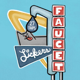 Sign art for Faucet Lickers Taproom by Carl Vervisch