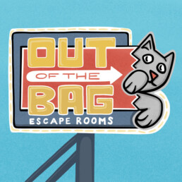 Sign art for Out of the Bag Escape Rooms by Carl Vervisch