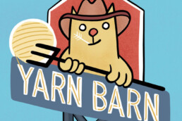 Signage artwork for the Yarn Barn by Carl Vervisch