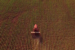 Overhead photo of tractor on a farm