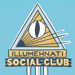 Sign Art for Illumewnati Social Club by Carl Vervisch